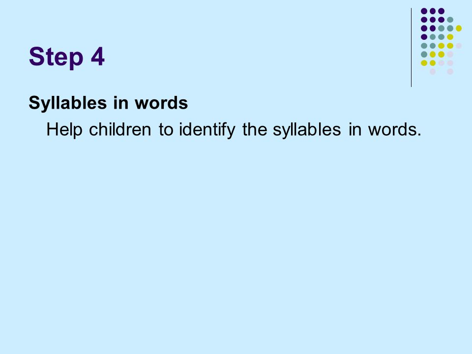 Step 4 Syllables in words Help children to identify the syllables in words.