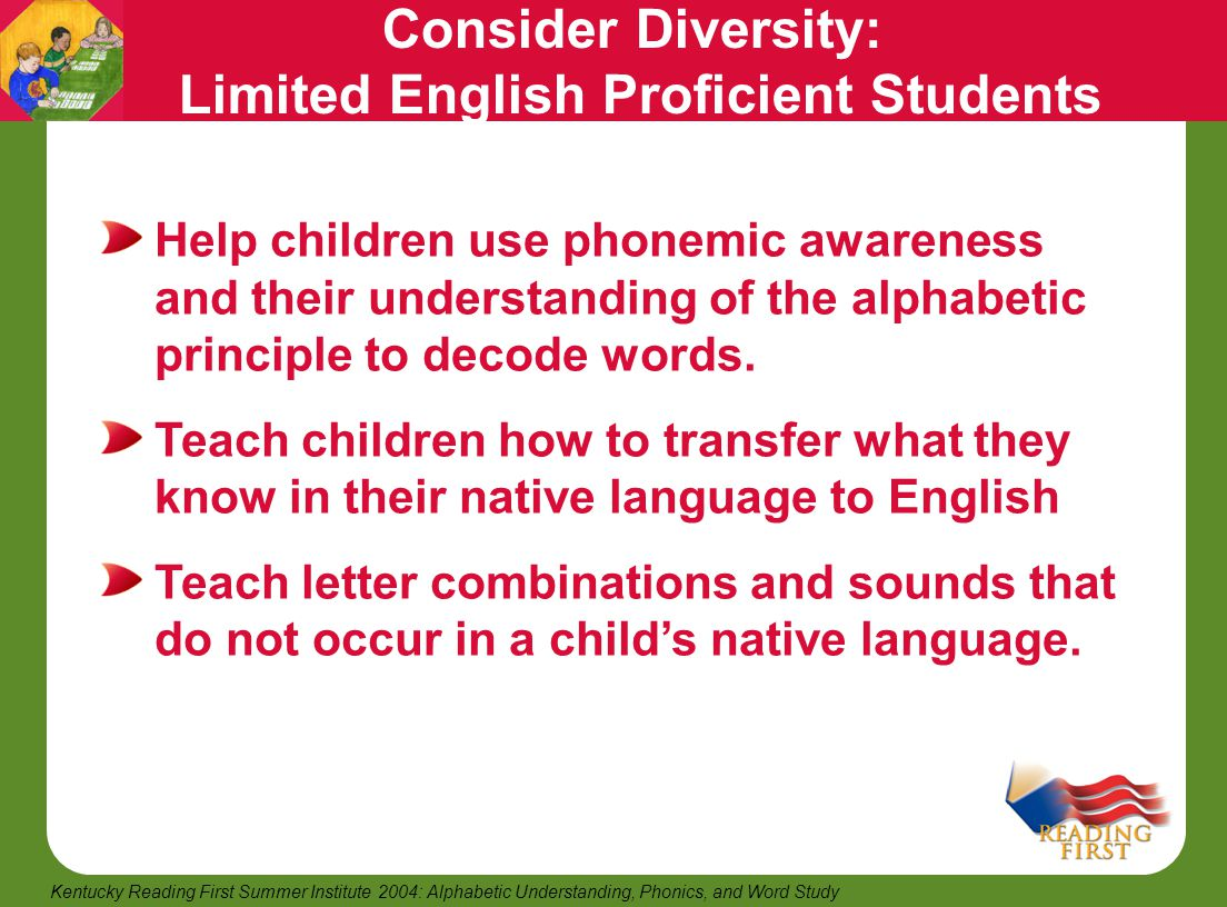 25 Kentucky Reading First Summer Institute 2004: Alphabetic Understanding, Phonics, and Word Study Consider Diversity: Limited English Proficient Stud