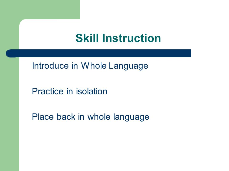 Skill Instruction Introduce in Whole Language Practice in isolation Place back in whole language