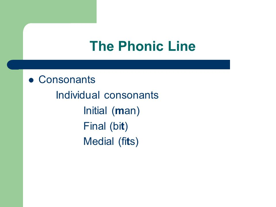 The Phonic Line Consonants Individual consonants Initial (man) Final (bit) Medial (fits)