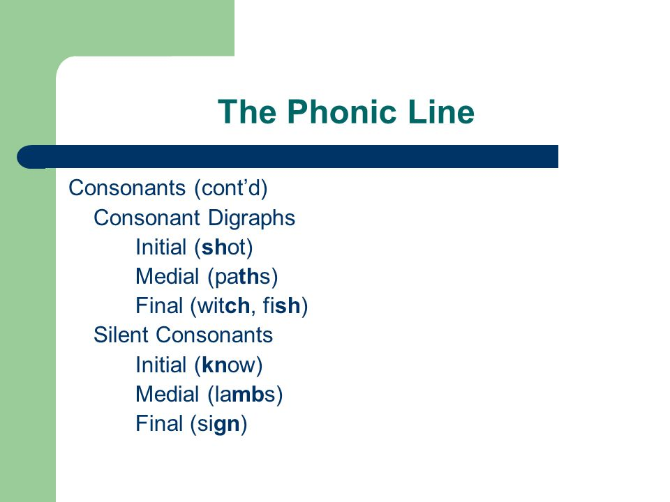 The Phonic Line Consonants (cont'd) Consonant Digraphs Initial (shot) Medial (paths) Final (witch, fish) Silent Consonants Initial (know) Medial (lambs) Final (sign)