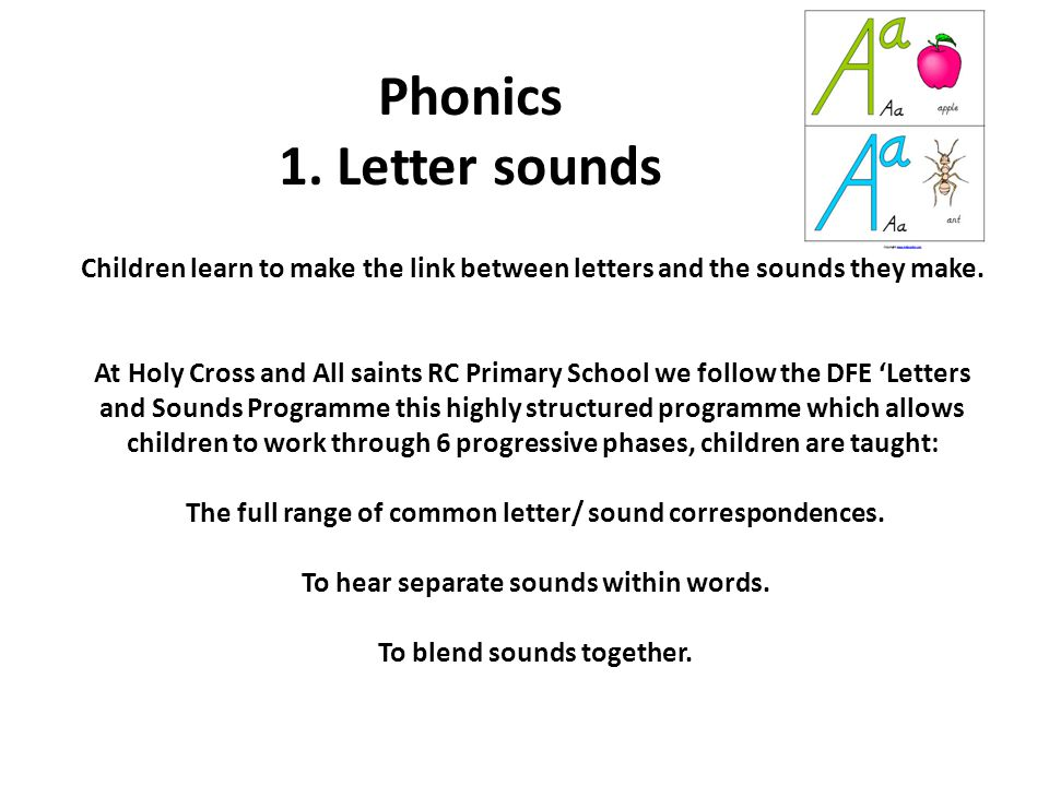 Phonics 1. Letter sounds Children learn to make the link between letters and the sounds they make.