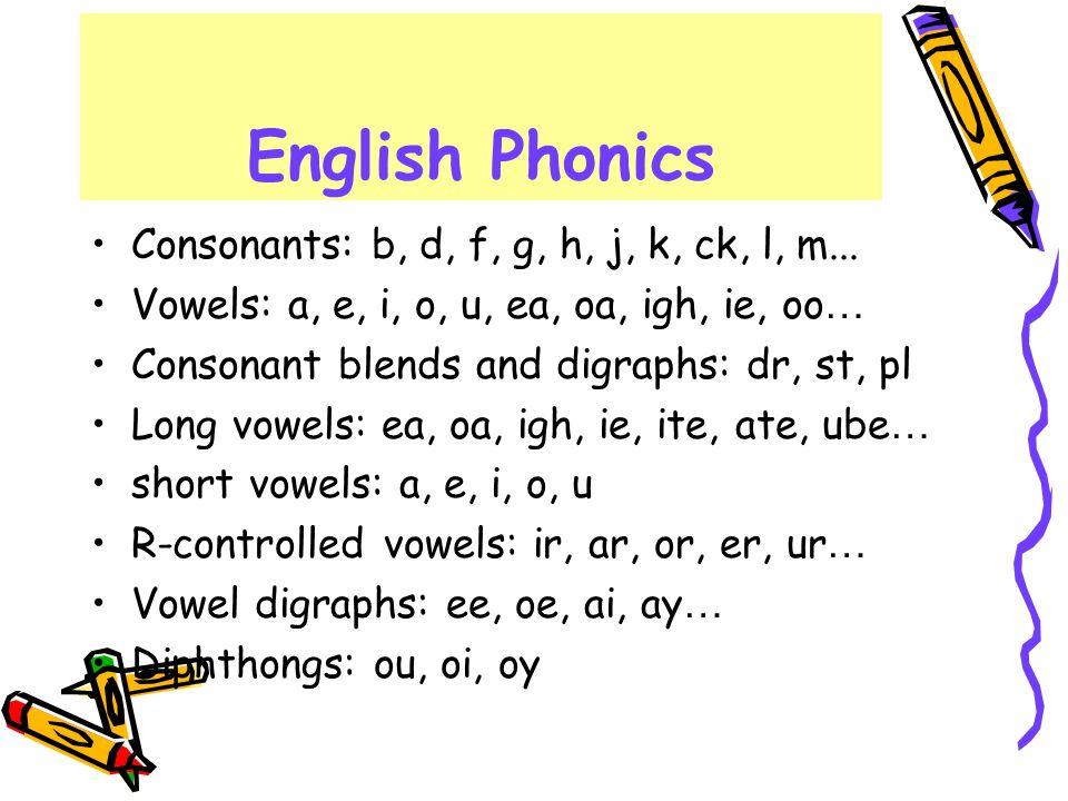 English Phonics Consonants: b, d, f, g, h, j, k, ck, l, m... Vowels: a, e, i, o, u, ea, oa, igh, ie, oo … Consonant blends and digraphs: dr, st, pl Lo