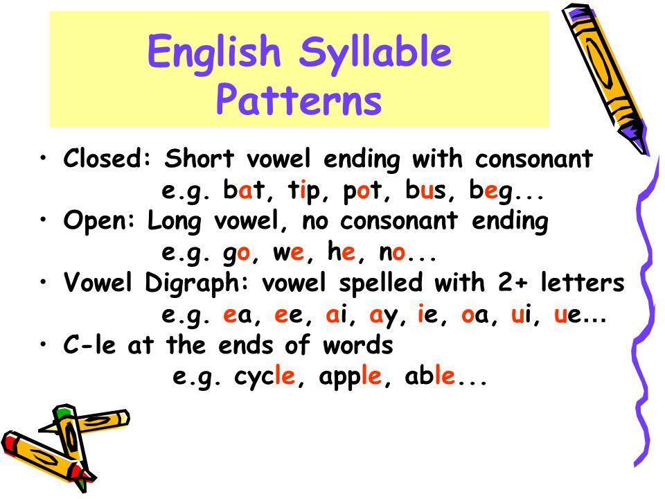 English Syllable Patterns Closed: Short vowel ending with consonant e.g. bat, tip, pot, bus, beg... Open: Long vowel, no consonant ending e.g. go, we,