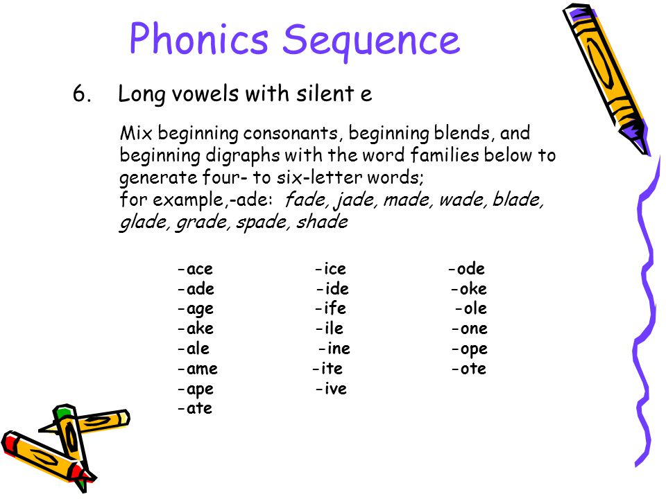 Phonics Sequence 6. Long vowels with silent e Mix beginning consonants, beginning blends, and beginning digraphs with the word families below to gener