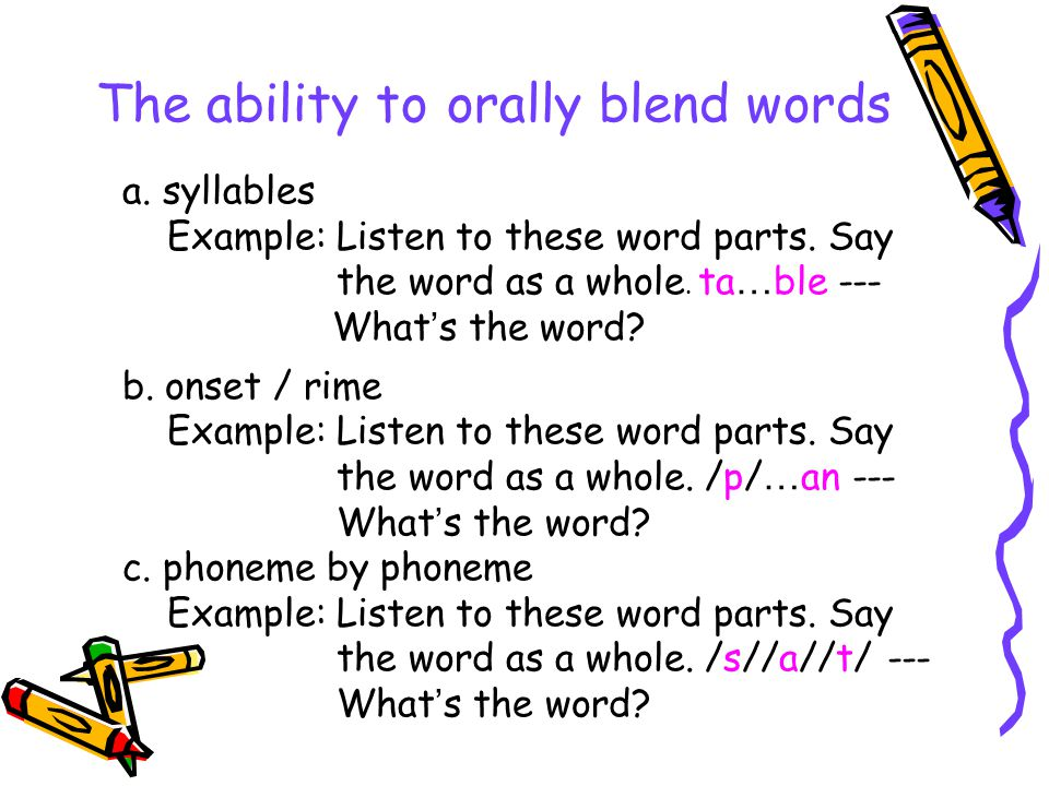 The ability to orally blend words a. syllables Example: Listen to these word parts. Say the word as a whole. ta … ble --- What ' s the word? b. onset