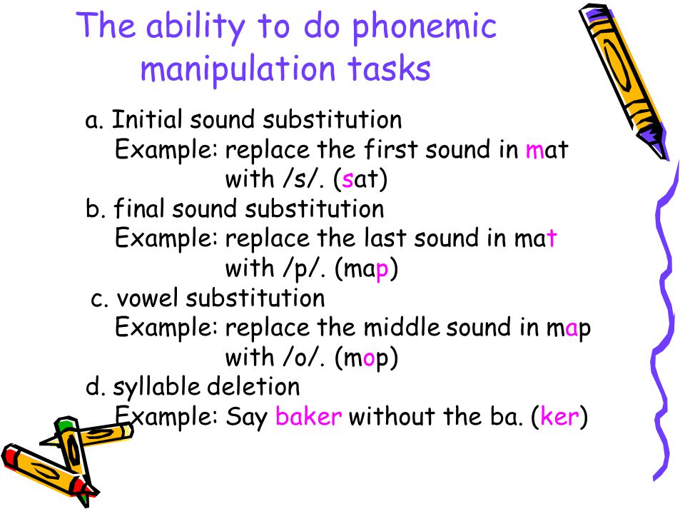 The ability to do phonemic manipulation tasks a. Initial sound substitution Example: replace the first sound in mat with /s/. (sat) b. final sound sub