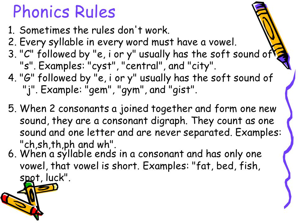 Phonics Rules 1. Sometimes the rules don't work. 2. Every syllable in every word must have a vowel. 3.