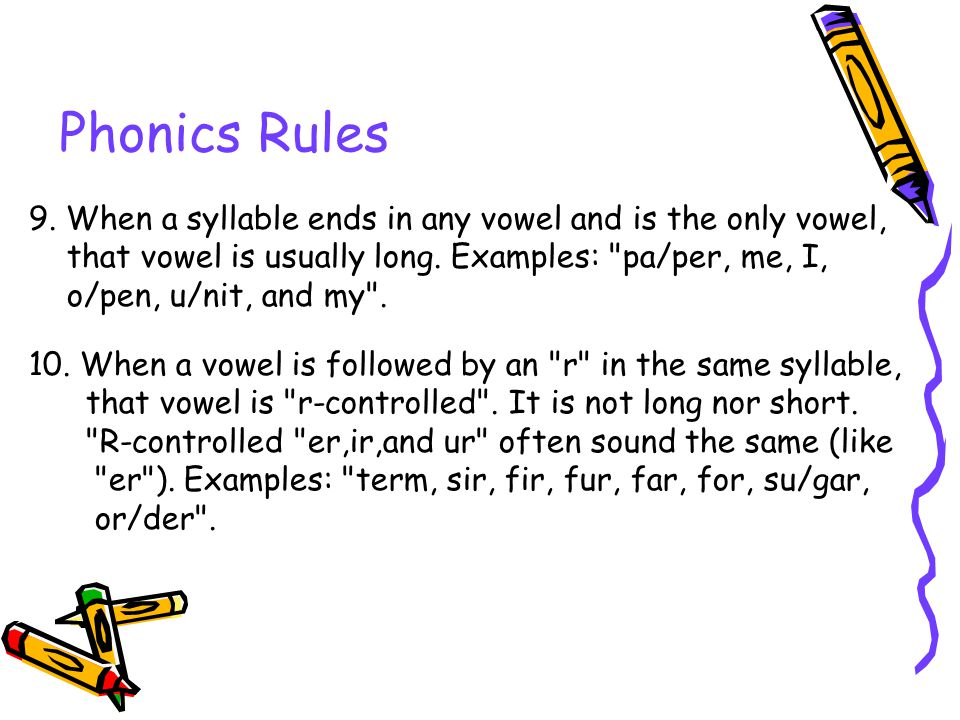 Phonics Rules 9. When a syllable ends in any vowel and is the only vowel, that vowel is usually long. Examples: