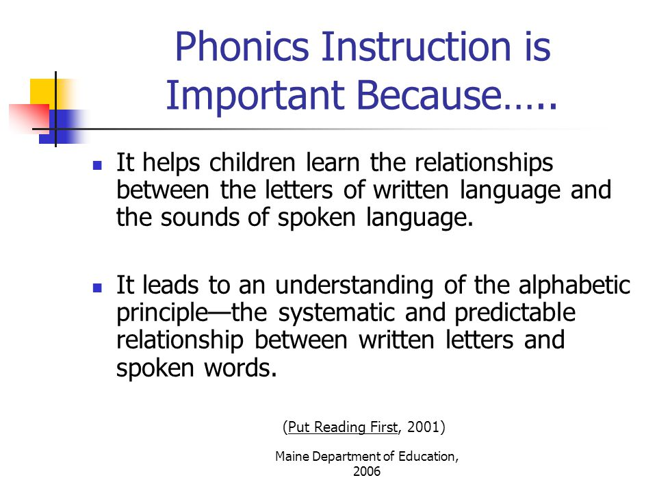 Maine Department of Education, 2006 Effective phonics instruction is….