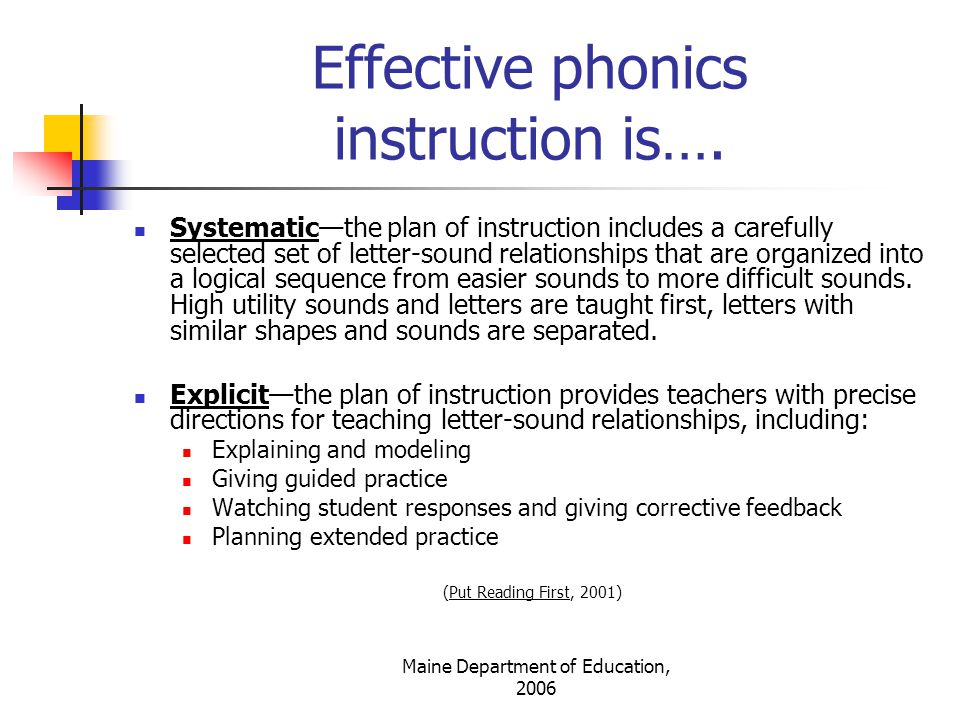 Maine Department of Education, 2006 Systematic and Explicit Phonics Instruction…… significantly improves children's word recognition, spelling, and reading comprehension.