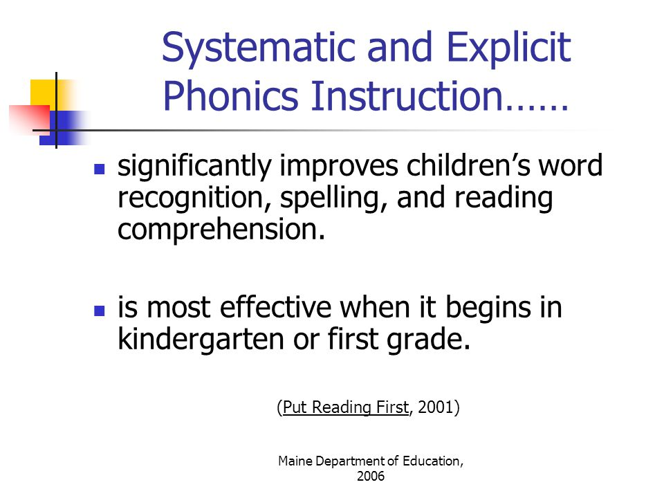 Maine Department of Education, 2006 Effective Phonics Instruction Provides…..