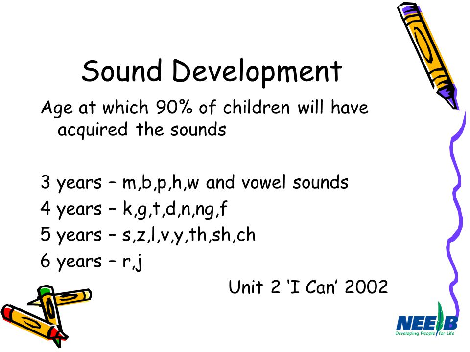 Sound Development Age at which 90% of children will have acquired the sounds 3 years – m,b,p,h,w and vowel sounds 4 years – k,g,t,d,n,ng,f 5 years – s