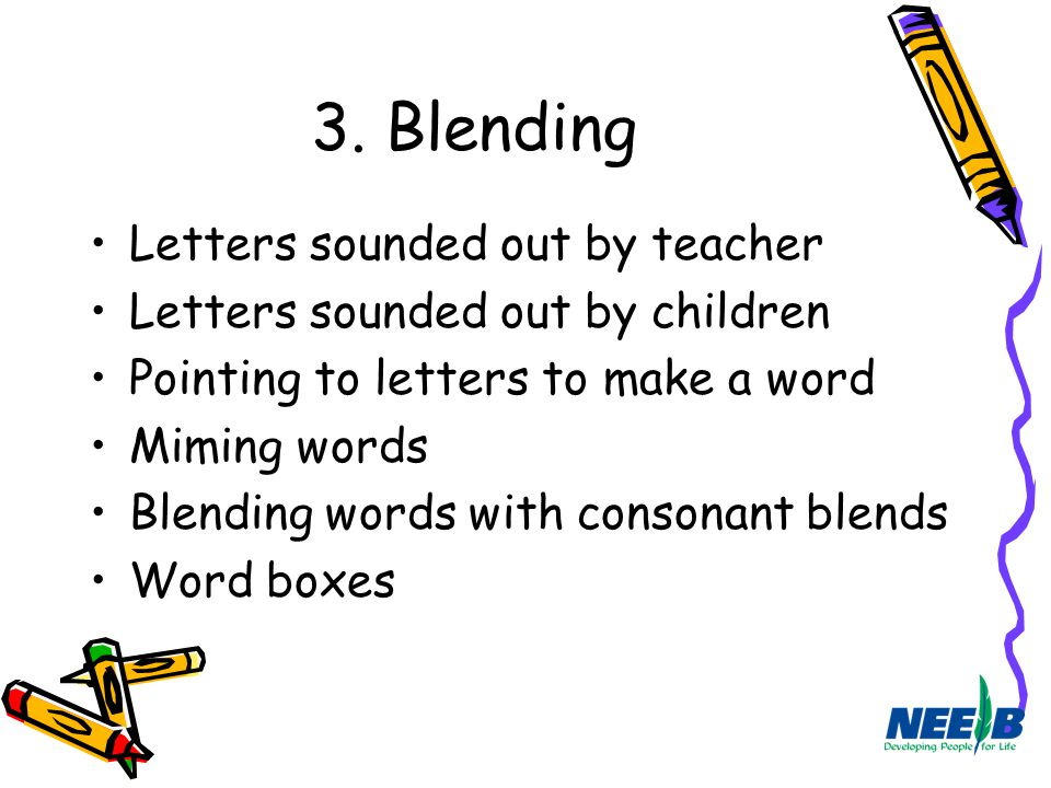 3. Blending Letters sounded out by teacher Letters sounded out by children Pointing to letters to make a word Miming words Blending words with consona