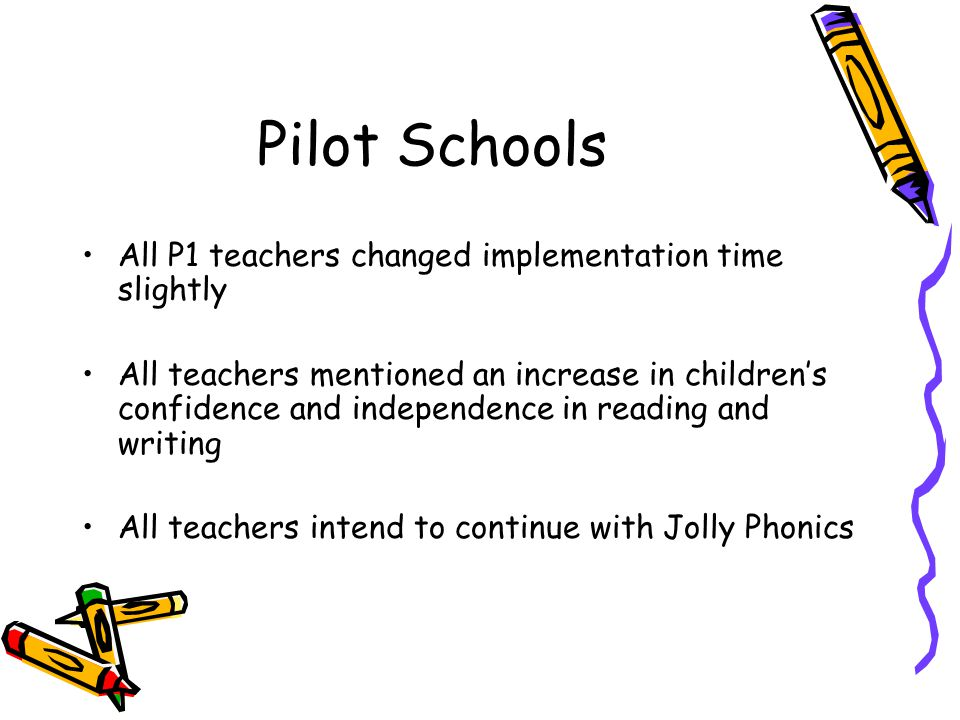 Pilot Schools All P1 teachers changed implementation time slightly All teachers mentioned an increase in children's confidence and independence in rea