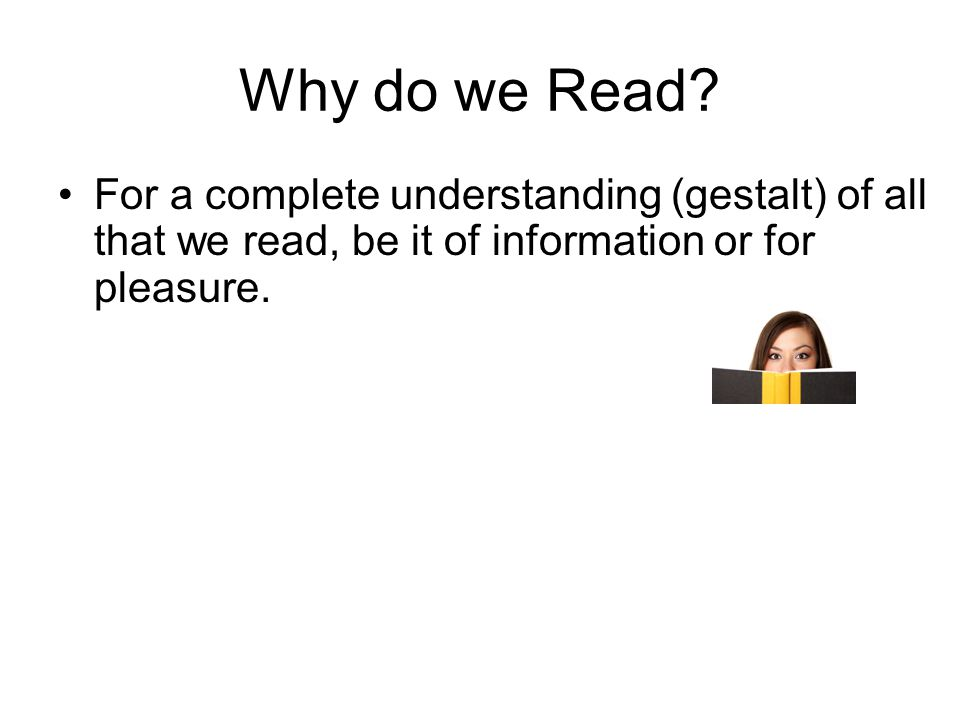 Why do we Read.