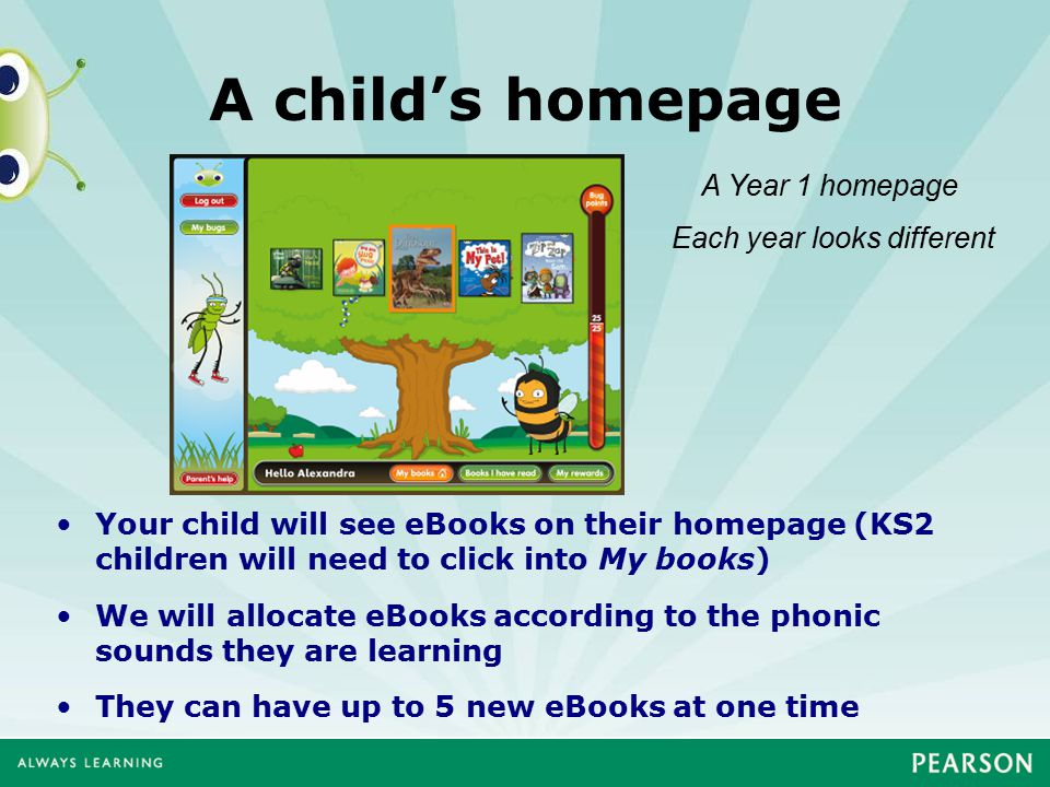 A child's homepage Your child will see eBooks on their homepage (KS2 children will need to click into My books) We will allocate eBooks according to t