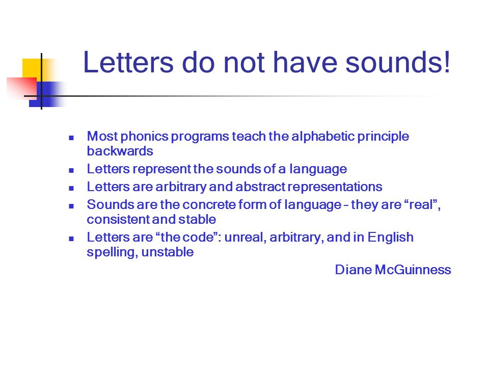 Letters do not have sounds.