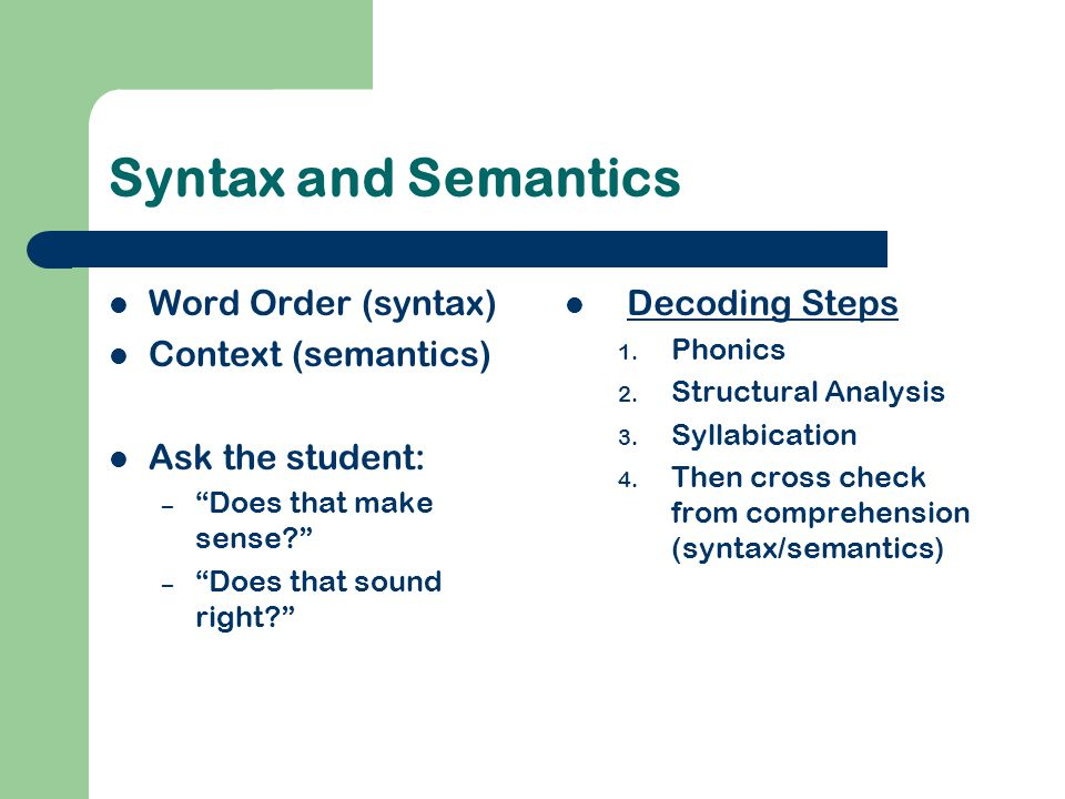 """Syntax and Semantics Word Order (syntax) Context (semantics) Ask the student: – """"Does that make sense?"""" – """"Does that sound right?"""" Decoding Steps 1. P"""