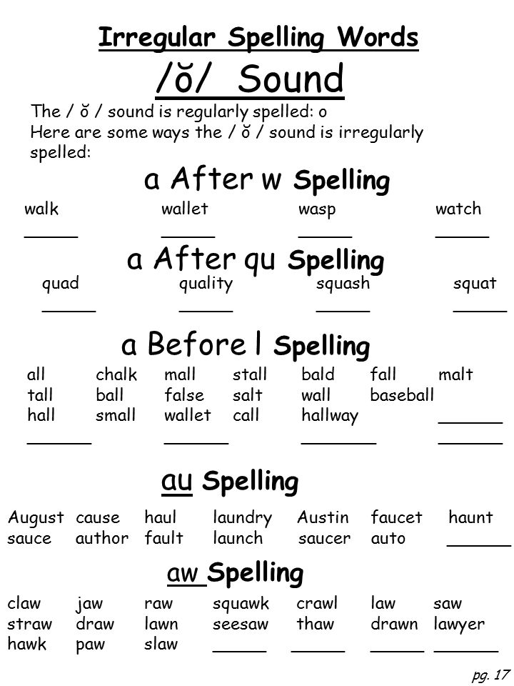 Irregular Spelling Words pg.
