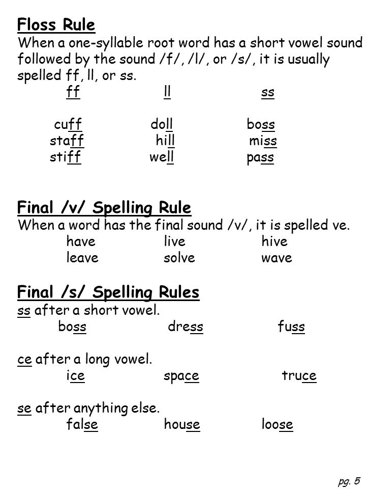 Floss Rule When a one-syllable root word has a short vowel sound followed by the sound /f/, /l/, or /s/, it is usually spelled ff, ll, or ss.