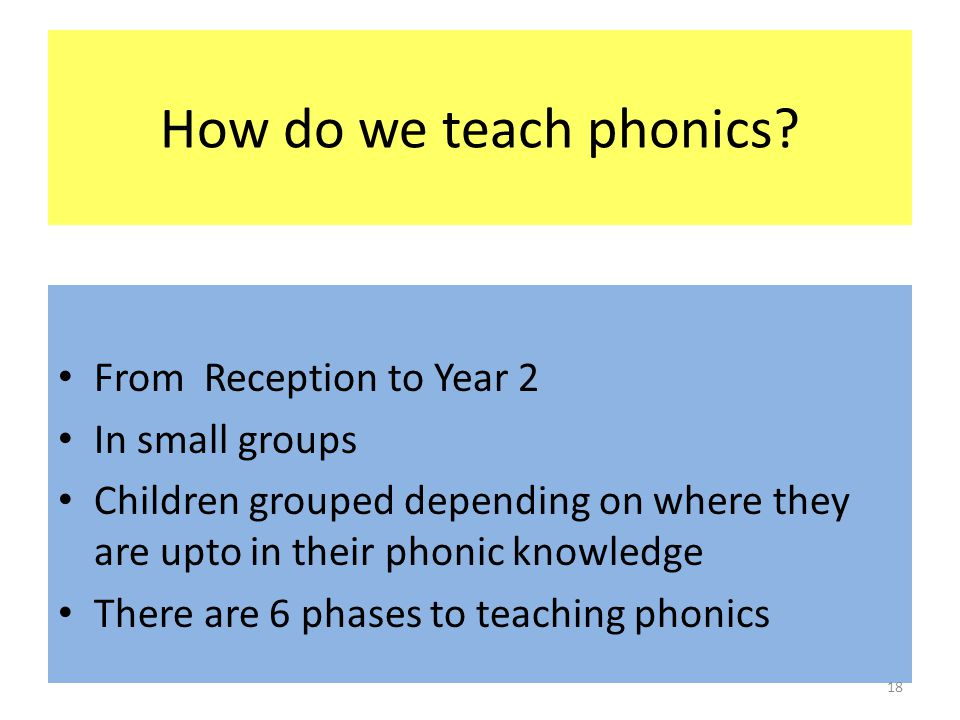 How do we teach phonics? From Reception to Year 2 In small groups Children grouped depending on where they are upto in their phonic knowledge There ar