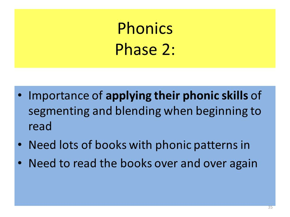 Phonics Phase 2: Importance of applying their phonic skills of segmenting and blending when beginning to read Need lots of books with phonic patterns in Need to read the books over and over again 35
