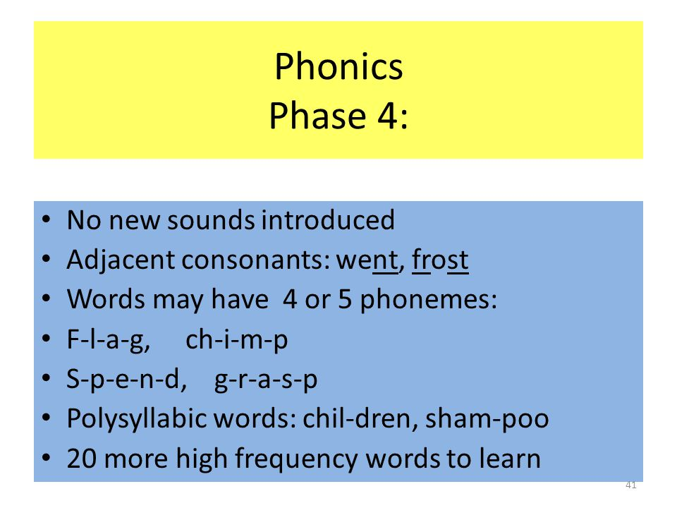 Phonics Phase 4: No new sounds introduced Adjacent consonants: went, frost Words may have 4 or 5 phonemes: F-l-a-g, ch-i-m-p S-p-e-n-d, g-r-a-s-p Polysyllabic words: chil-dren, sham-poo 20 more high frequency words to learn 41