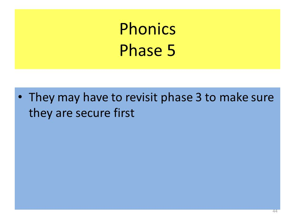 Phonics Phase 5 They may have to revisit phase 3 to make sure they are secure first 44