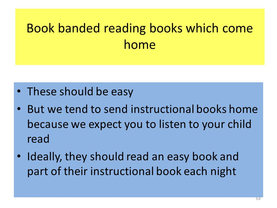 Book banded reading books which come home These should be easy But we tend to send instructional books home because we expect you to listen to your child read Ideally, they should read an easy book and part of their instructional book each night 64