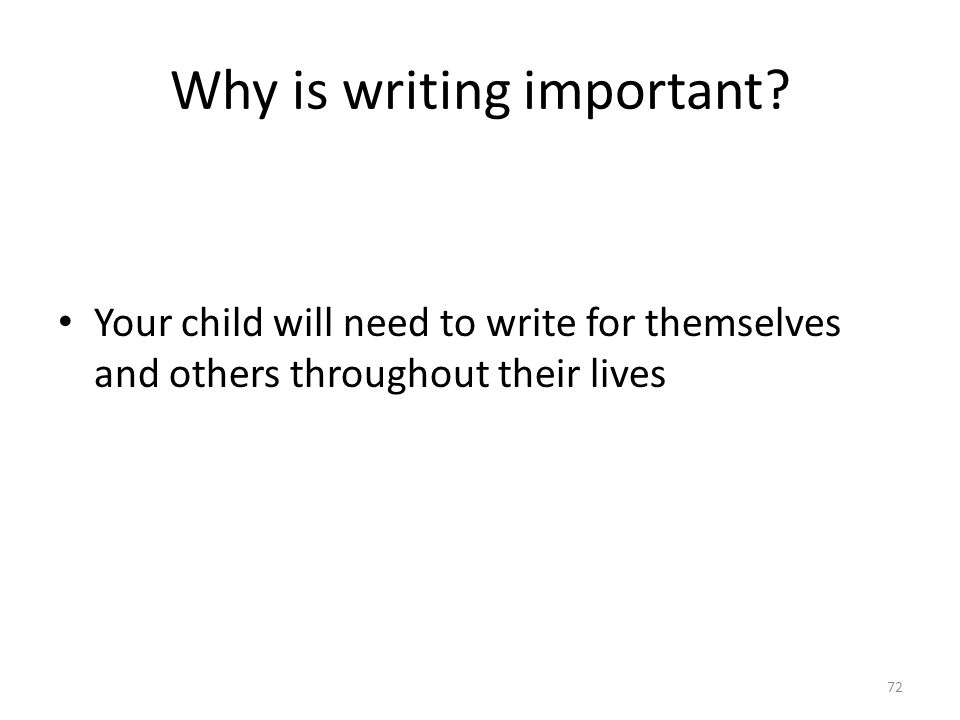 Why is writing important.