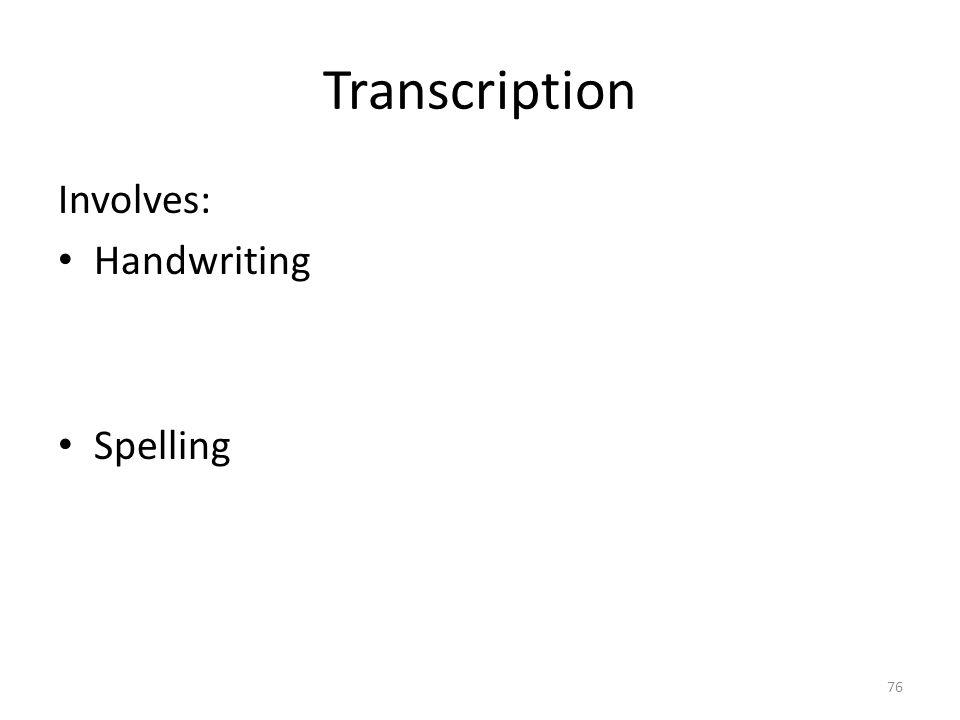 Transcription Involves: Handwriting Spelling 76