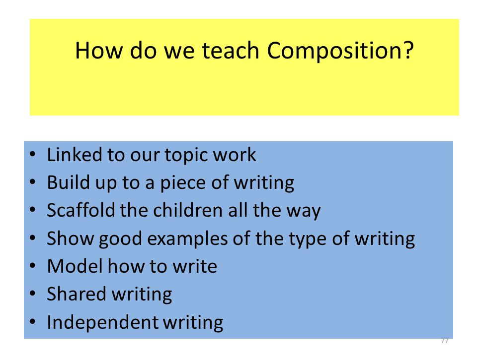 How do we teach Composition? Linked to our topic work Build up to a piece of writing Scaffold the children all the way Show good examples of the type