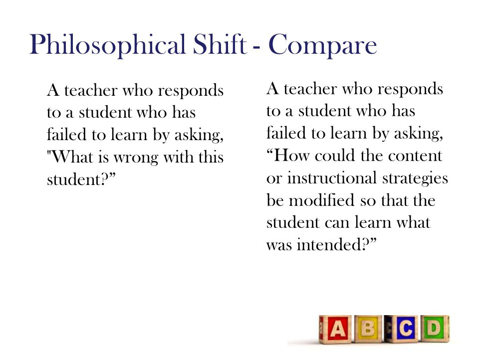 Philosophical Shift - Compare A teacher who responds to a student who has failed to learn by asking, What is wrong with this student A teacher who responds to a student who has failed to learn by asking, How could the content or instructional strategies be modified so that the student can learn what was intended