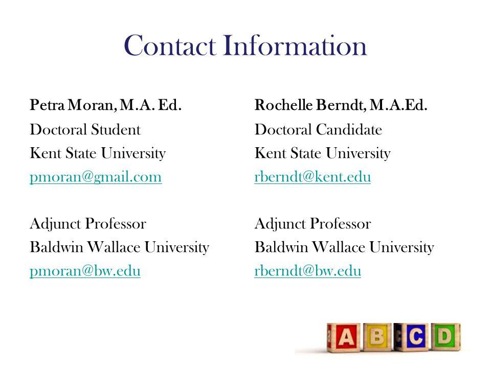 Contact Information Petra Moran, M.A. Ed.