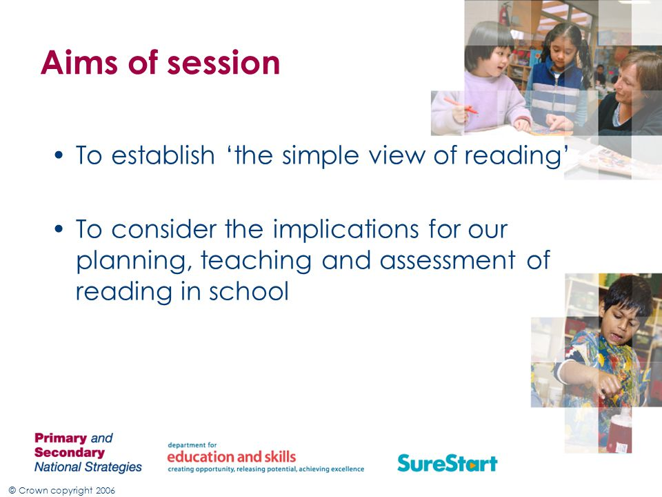 © Crown copyright 2006 Aims of session To establish 'the simple view of reading' To consider the implications for our planning, teaching and assessment of reading in school