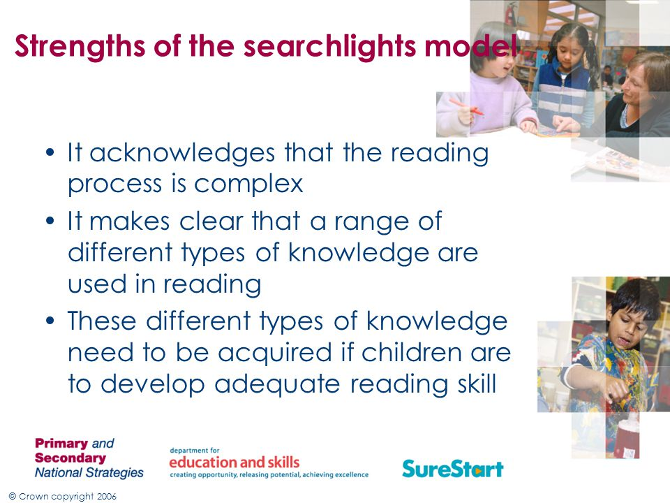 © Crown copyright 2006 Strengths of the searchlights model It acknowledges that the reading process is complex It makes clear that a range of different types of knowledge are used in reading These different types of knowledge need to be acquired if children are to develop adequate reading skill