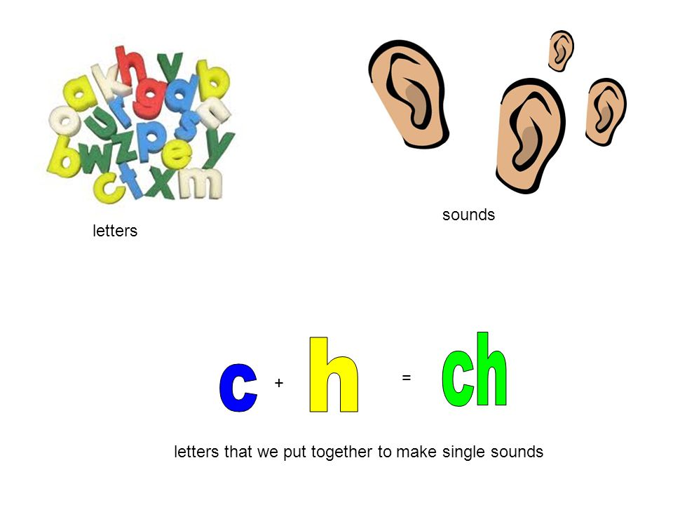 letters sounds letters that we put together to make single sounds + =