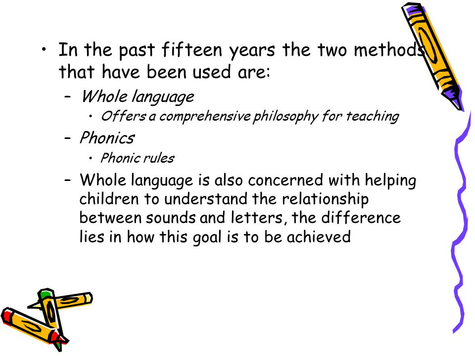 Phonics An ideal alphabet would assign one letter to each sound 26 letters, but 44 sounds in the English language, dialect variations can extend this number William T.