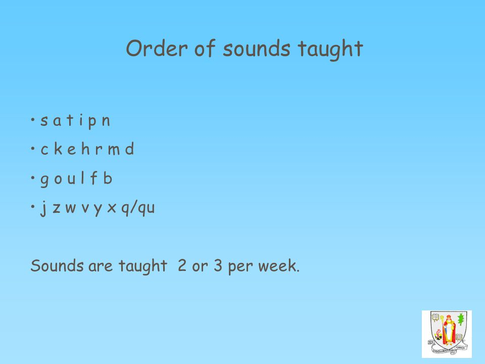 Order of sounds taught s a t i p n c k e h r m d g o u l f b j z w v y x q/qu Sounds are taught 2 or 3 per week.
