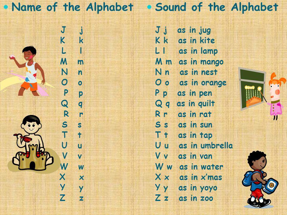 Name of the Alphabet J j K k L l M m N n O o P p Q q R r S s T t U u V v W w X x Y y Z z Sound of the Alphabet J j as in jug K k as in kite L l as in lamp M m as in mango N n as in nest O o as in orange P p as in pen Q q as in quilt R r as in rat S s as in sun T t as in tap U u as in umbrella V v as in van W w as in water X x as in x'mas Y y as in yoyo Z z as in zoo