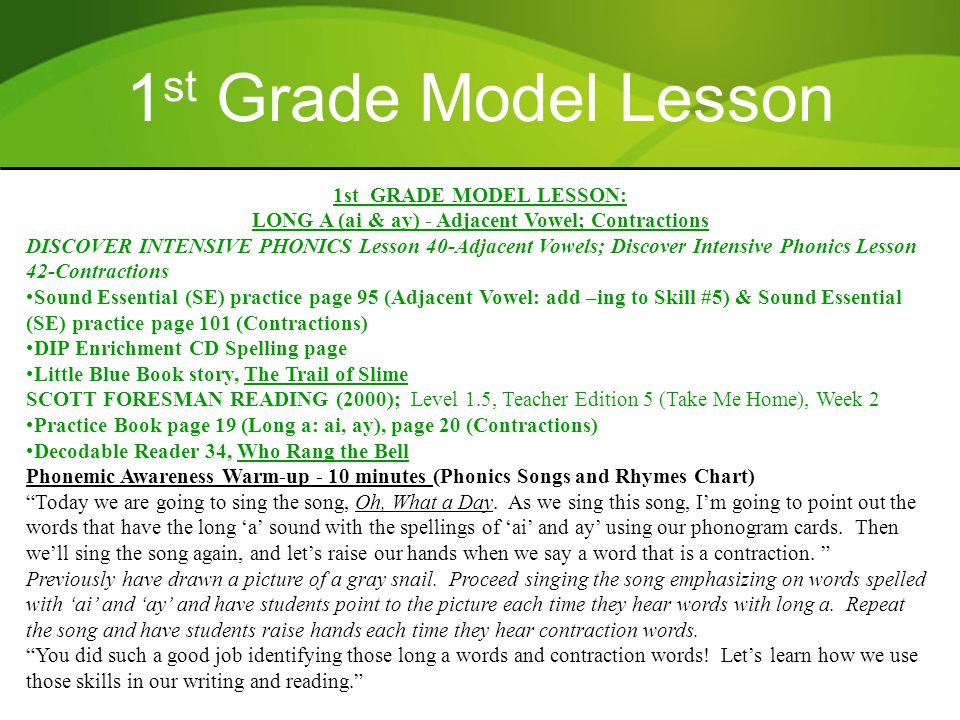 1st GRADE MODEL LESSON: LONG A (ai & ay) - Adjacent Vowel; Contractions DISCOVER INTENSIVE PHONICS Lesson 40-Adjacent Vowels; Discover Intensive Phoni