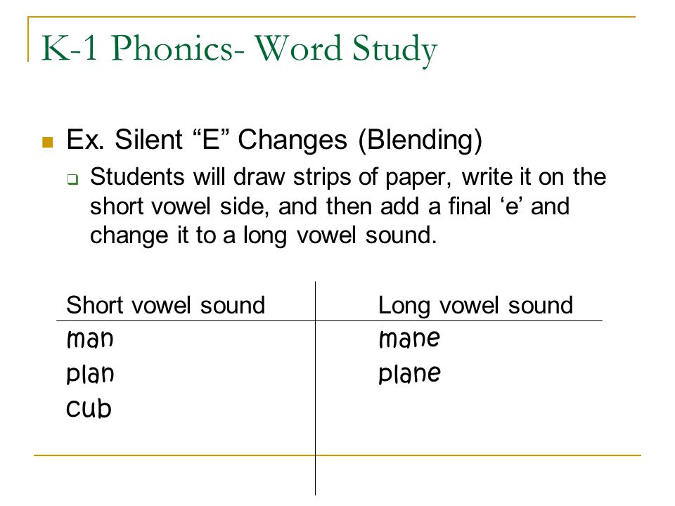 "K-1 Phonics- Word Study Ex. Silent ""E"" Changes (Blending)  Students will draw strips of paper, write it on the short vowel side, and then add a final"