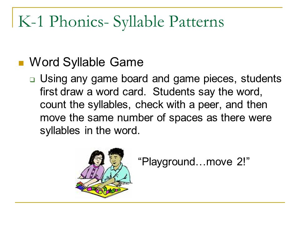 K-1 Phonics- Syllable Patterns Word Syllable Game  Using any game board and game pieces, students first draw a word card. Students say the word, coun