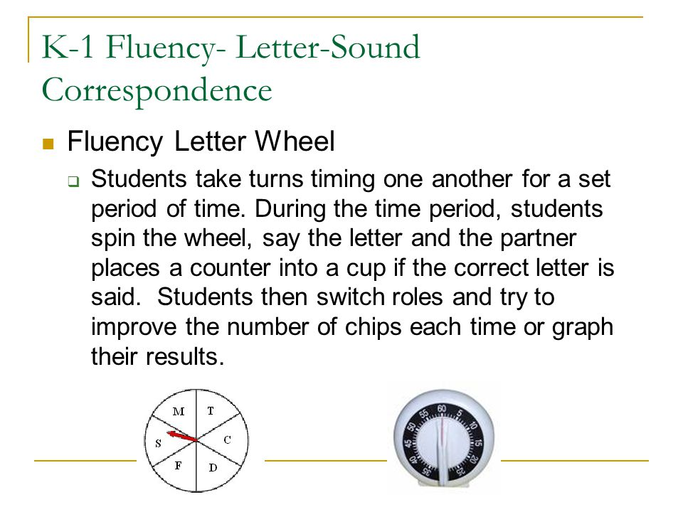K-1 Fluency- Letter-Sound Correspondence Fluency Letter Wheel  Students take turns timing one another for a set period of time. During the time perio