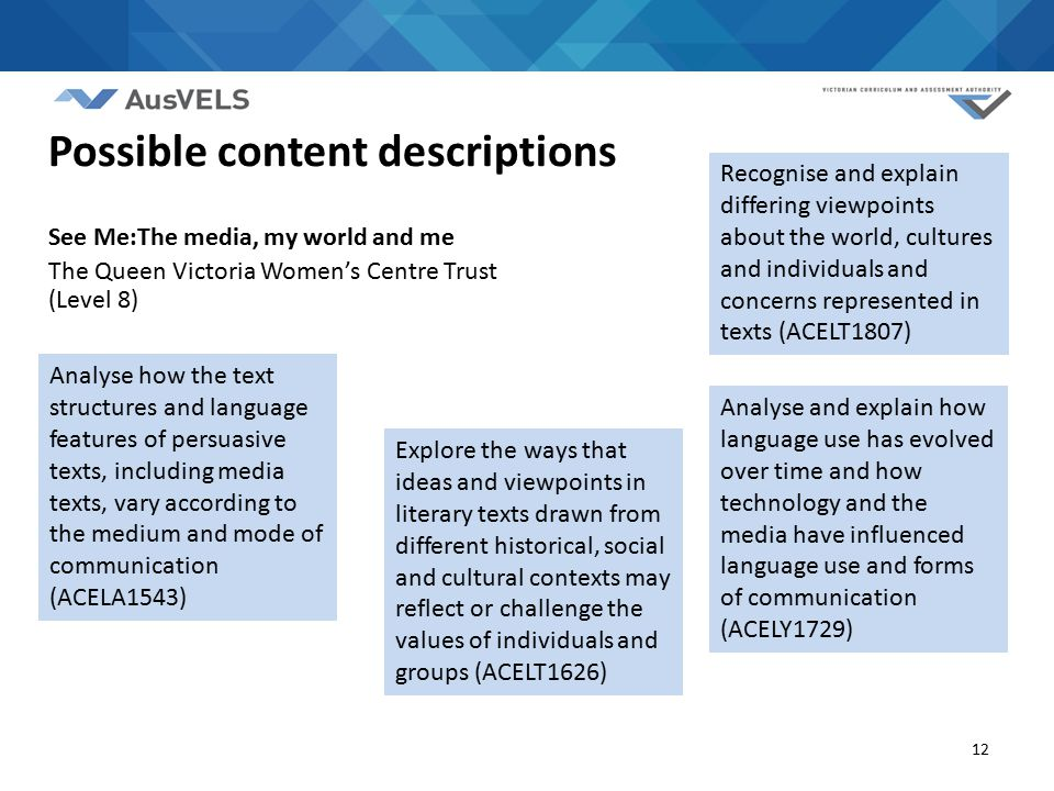 12 Analyse how the text structures and language features of persuasive texts, including media texts, vary according to the medium and mode of communic