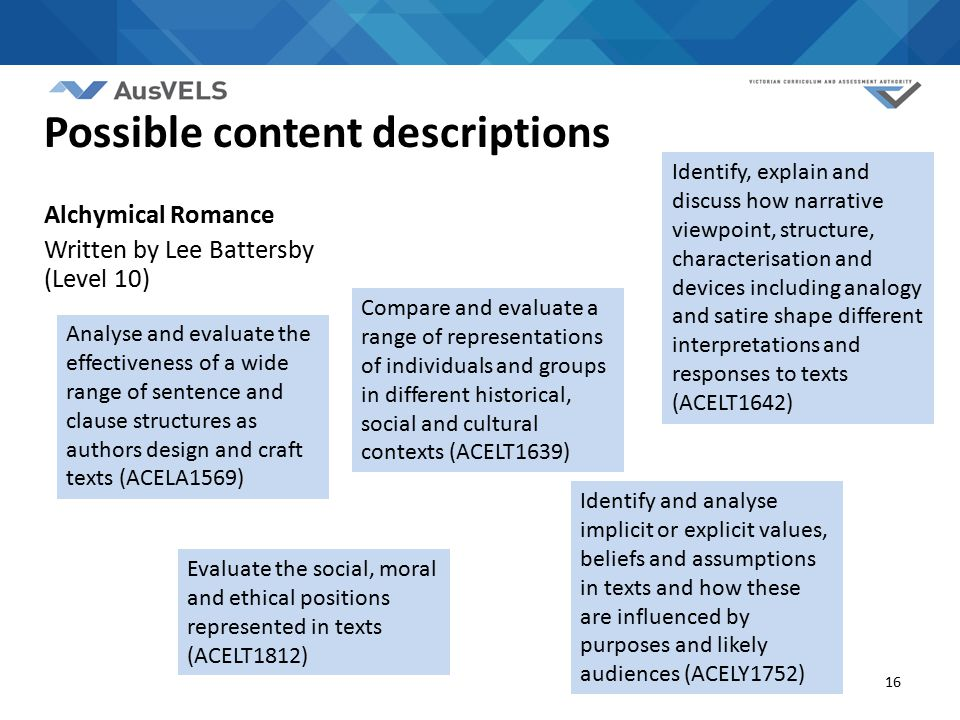 16 Analyse and evaluate the effectiveness of a wide range of sentence and clause structures as authors design and craft texts (ACELA1569) Compare and evaluate a range of representations of individuals and groups in different historical, social and cultural contexts (ACELT1639) Evaluate the social, moral and ethical positions represented in texts (ACELT1812) Possible content descriptions Alchymical Romance Written by Lee Battersby (Level 10) Identify, explain and discuss how narrative viewpoint, structure, characterisation and devices including analogy and satire shape different interpretations and responses to texts (ACELT1642) Identify and analyse implicit or explicit values, beliefs and assumptions in texts and how these are influenced by purposes and likely audiences (ACELY1752)