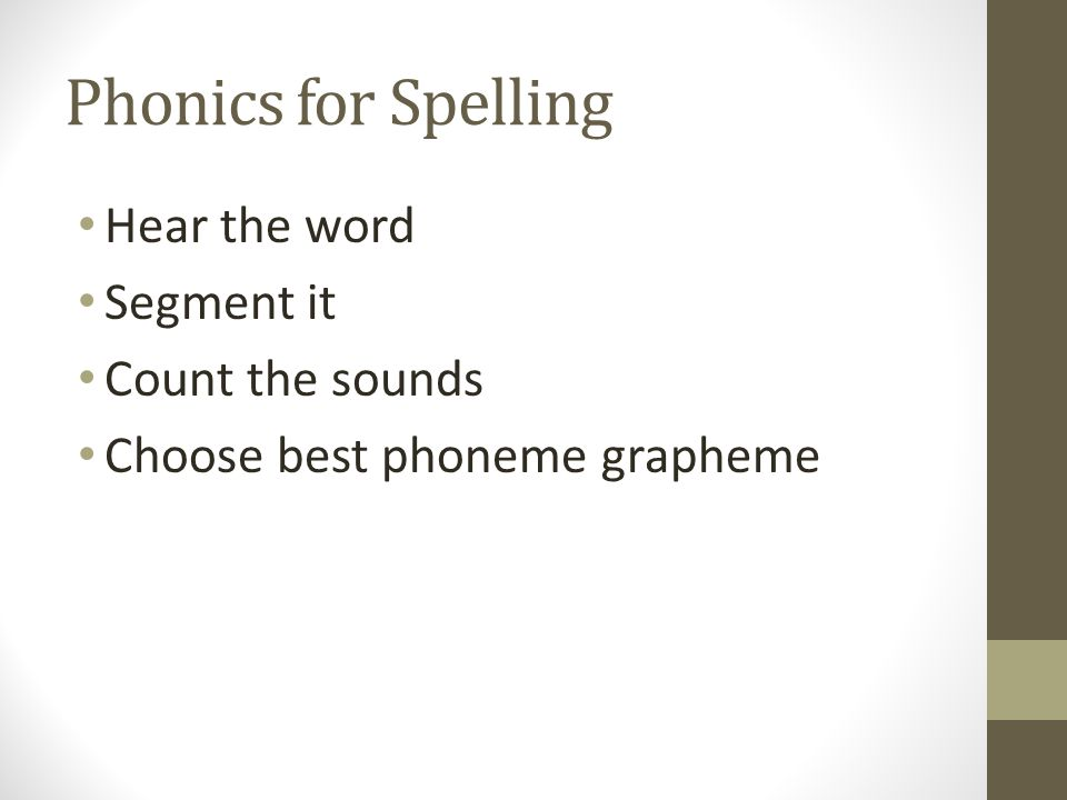 Phonics for Spelling Hear the word Segment it Count the sounds Choose best phoneme grapheme