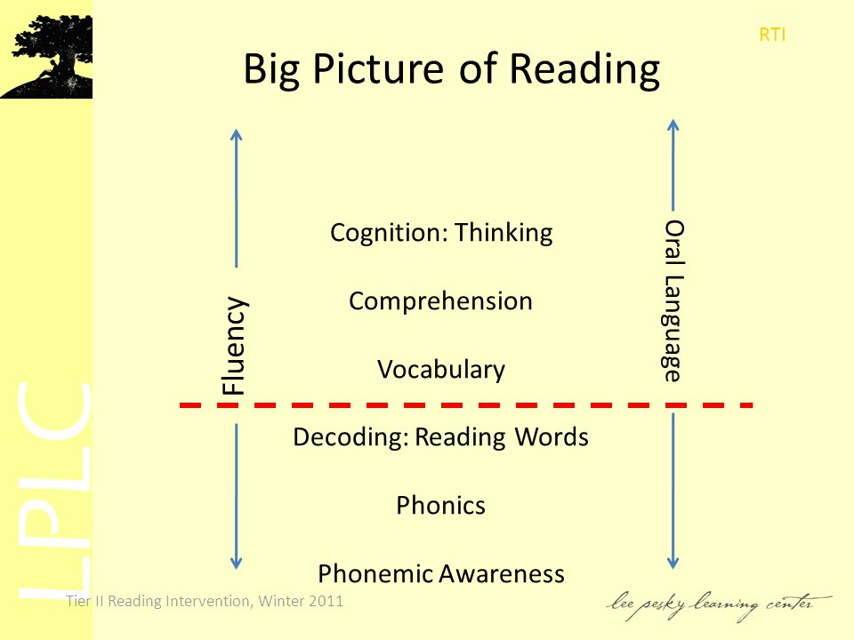 LPLC Tier II Reading Intervention, Winter 2011 Big Picture of Reading Cognition: Thinking Comprehension Vocabulary Decoding: Reading Words Phonics Phonemic Awareness Oral Language Fluency RTI
