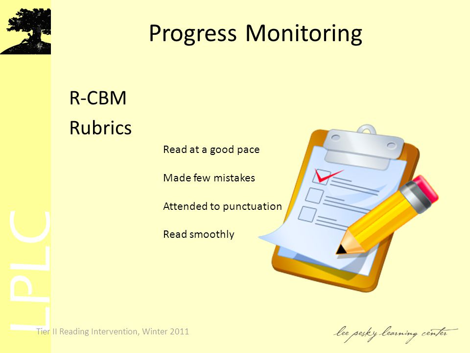 LPLC Tier II Reading Intervention, Winter 2011 Progress Monitoring R-CBM Rubrics Read at a good pace Made few mistakes Attended to punctuation Read smoothly